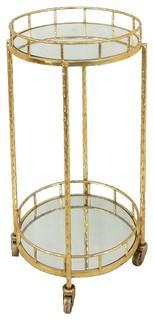 Sagebrook Home 18 quot Metal and Mirror Round Bar Cart Gold