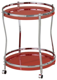Chrome Finish 2 Tier Tempered Frosted Glass Serving Kitchen Cart Red