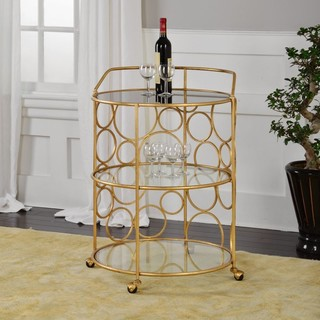 Xandra 25 25 quot Serving Cart Antiqued Gold Tempered Glass