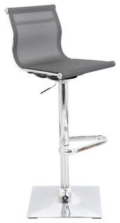 Mesh Adjustable Bar Stool Silver Seat