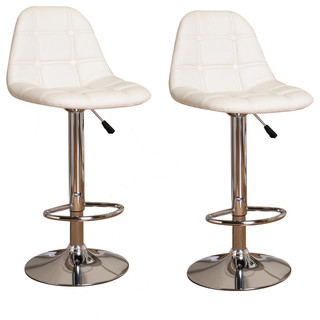 Aviva Adjustable Bar Stools Set of 2 White