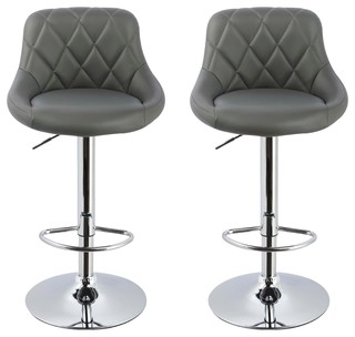 Claire Faux Leather Adjustable Swivel Bar Stools Set of 2 Gray