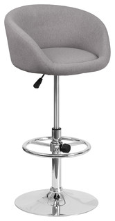 Orion Fabric Adjustable Stool With Chrome Base Gray