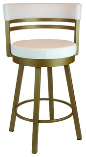 Gold Metal Frame Round Swivel Counter Stool with White Seat Backrest