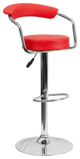 Perseus Adjustable Stool With Chrome Base Red