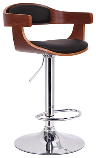 Garr Walnut and Black Modern Bar Stool