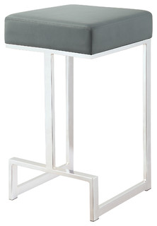 Bar Stool Accent Leatherette Upholstered Dining Counter Height Stool Chrome Base