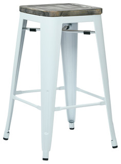 Bristow Antique Metal Barstool With Vintage Wood Seat White Finish Set of 2