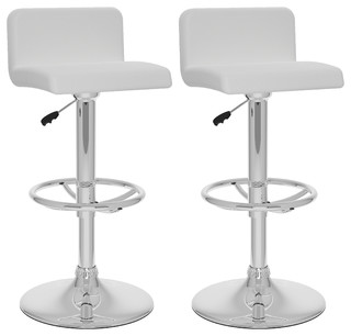 Wyatt Adjustable Bar Stools Set of 2 White Leatherette