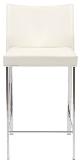Riley C Counter Stool White Leather Chrome Set of 2