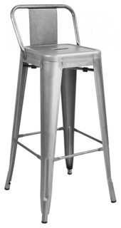 DreuxSteel Low Back Barstool 30 quot Set of 4 Clear Gunmetal 17 x27 x27 wx17 x27 x27 dx38