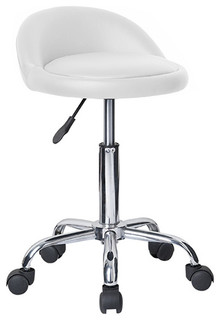 Juno Adjustable Height Massage Stool With Wheels Vanilla White