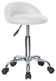 Juno Adjustable Height Massage Stool With Wheels Vanilla White