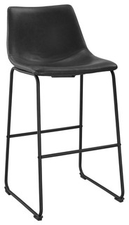Black Faux Leather Barstools Set Of 2