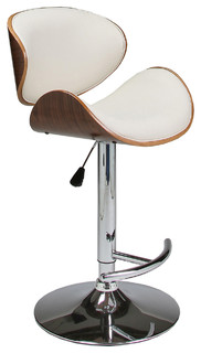 Pastel Jordana Hydraulic Lift Barstool Chrome Walnut Veneer Wood PU Ivory