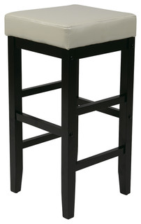 30 Square Cream Faux Leather Barstool with Espresso legs