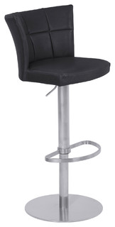 Encore Adjustable Brushed Stainless Steel Metal Bar Stool Vintage Black