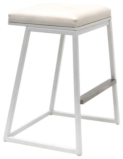 Widya Barstool White Metal Base White Vinyl
