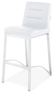Lynx Counter Height Contemporary Stool With Metal Base White