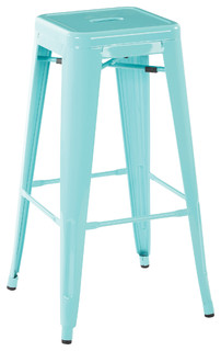 Patterson Steel Backless Bar Stools Set of 4 Green 30 quot