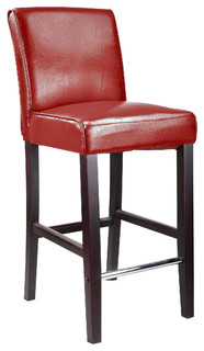 CorLiving Antonio Bar Height Barstool in Red Bonded Leather