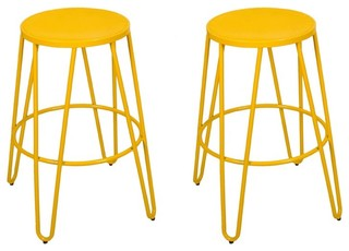 Adeco Yellow 26 quot Metal Counter Stools Set of 2
