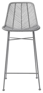Rattan and Metal Bar Stool Gray