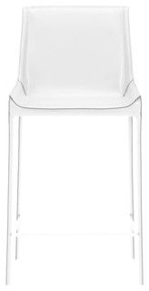 Conrad Counter Stools Set of 2 White Leather