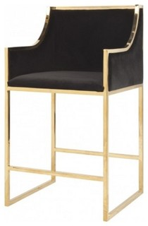 Worlds Away Hazel Counter Stool Black Velvet And Brass