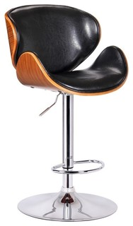 Swank Swivel Bar Stool With Back Black