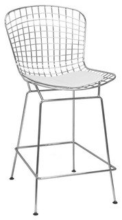 EZ Mod Chrome Wire Counter Barstool White