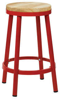 Bristow 26 quot Metal Backless Barstool Red Finish Frame
