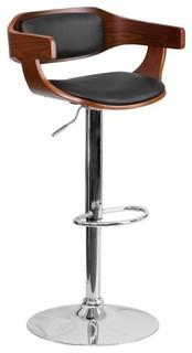 Flash Furniture Contemporary Adjustable Bar Stool Black and Walnut