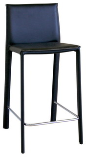 Baxton Studio Crawford Black Leather Counter Height Stool Set of 2