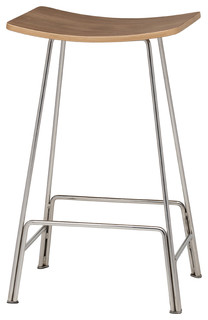 Kirsten Counter Stool Walnut Veneer and Polished Silver