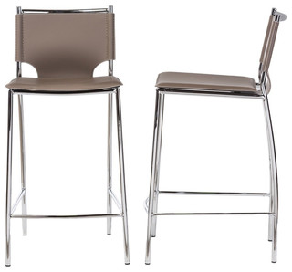 Montclare Leather Counter Stools Set of 2 Taupe