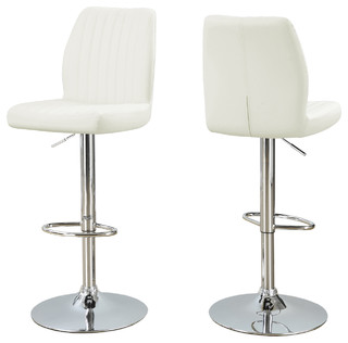Barstools Set of 2 White Chrome Metal Hydraulic Lift