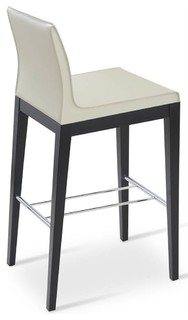 Wooden Bar Stool With Solid Beech Wenge Base Bone Bonded Leather