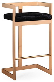 Marquee Velvet Bar Stool Black Rose Gold