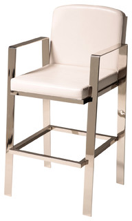 Juneau Metal Bar Stool With Upholstered Seat White and Nickel 30 quot