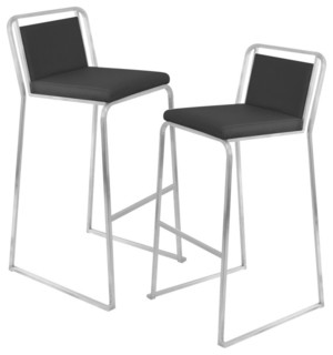 Cascade Stackable Bar Stools Set of 2 Black