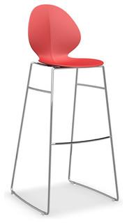 Basil Bar Stool Red Chrome Frame