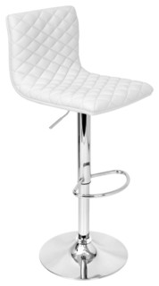 Caviar Adjustable Quilted Barstool White