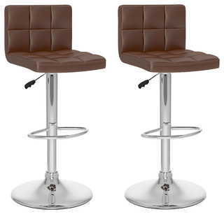 High Back Adjustable Bar Stool Brown Leatherette Set of 2