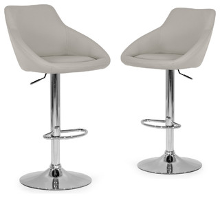 Alani Ashy Gray Adjustable Height Swivel Bar Stools Faux Leather Set of 2