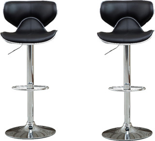 Adjustable Height Swivel Bar Stool Set of 2 Black
