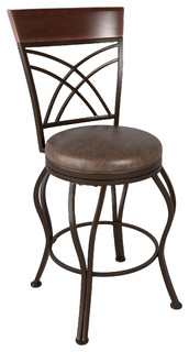 CorLiving Jericho Metal Counter Barstool Rustic Brown Bonded Leather Seat