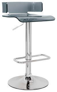 Swivel Adjustable Bar Stool Acrylic Resin Seat Chromed Base Gray