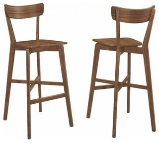 Rec Room Walnut Bar Height Stool Chair Set of 2