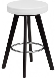 Flash Furniture CH 152600 WH VY GG 24 quot Vinyl Barstool Cappuccino With White